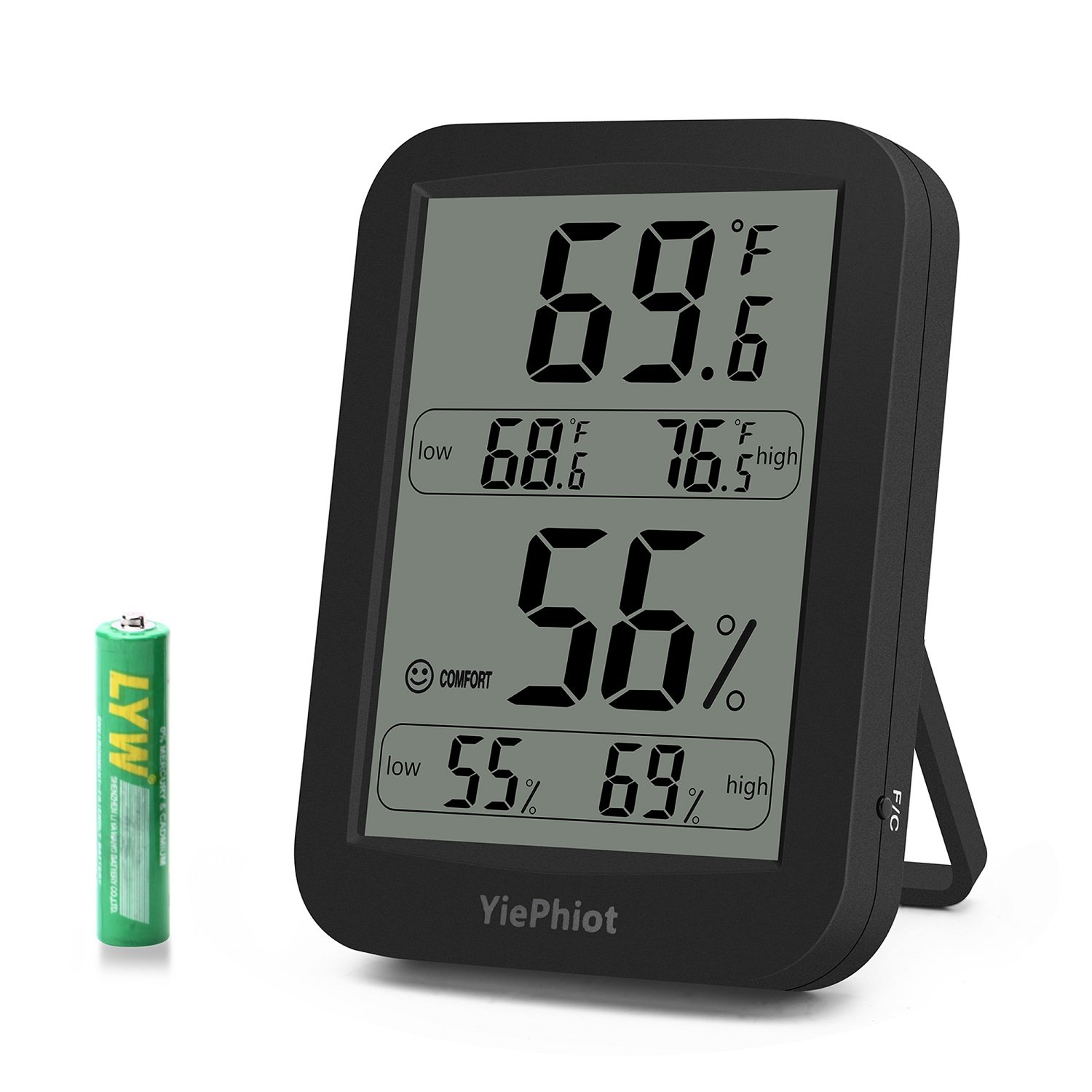 YiePhiot Digital Hygrometer Indoor Outdoor Black Thermometer Humidity Monitor Large LCD Display with Temperature Gauge Humidity Meter