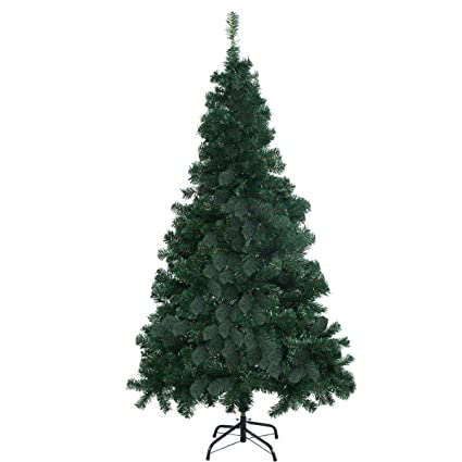 goplus 8 artificial christmas tree spruce hinged w metal stand for indoor and outdoor - Amazon Artificial Christmas Trees