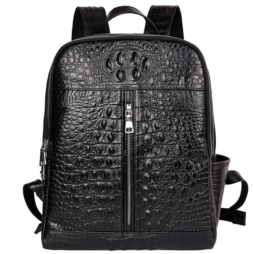 Men's Leather Crocodile Pattern Casual Large Capacity Double Zipper Shoulder Bag (black)