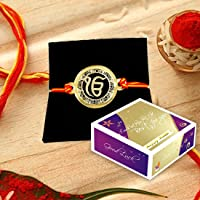 Incredible Gifts Gold Plated Message Rakhi - for Brother (Acrylic and Metal, Gold)