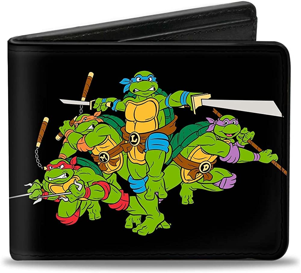 Buckle-Down Mens Wallet Classic Tmnt Group Pose + Tmnt World Tour 84 Black/gr Accessory, -Multi, One Size