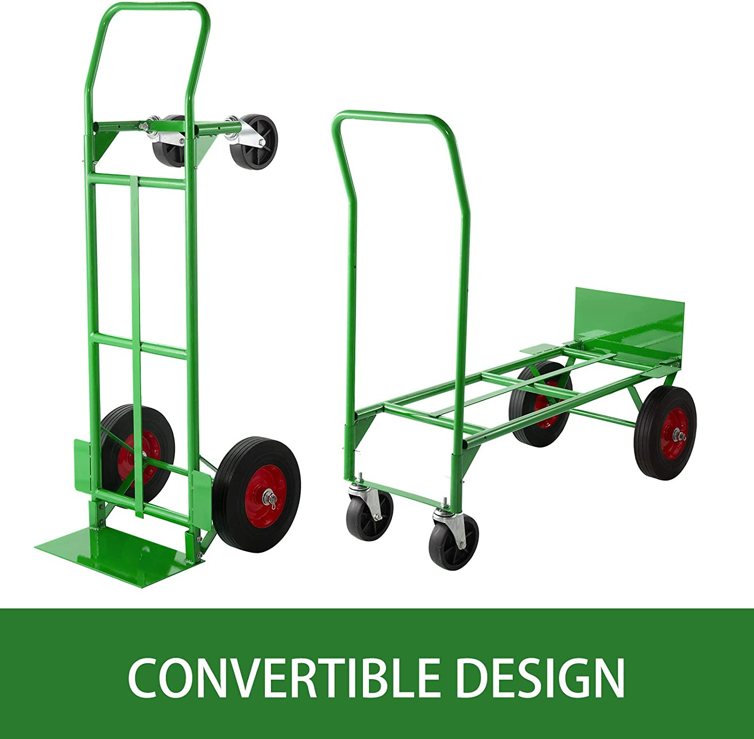 BestEquip Convertible Hand Truck 200lb//300lb Capacity Convertible Dolly with 10 Inch Solid Caster and 5 Inch Swivel Casters Dolly Cart 2 Wheels Dolly and 4 Wheels Cart for Handling Equipment in Green