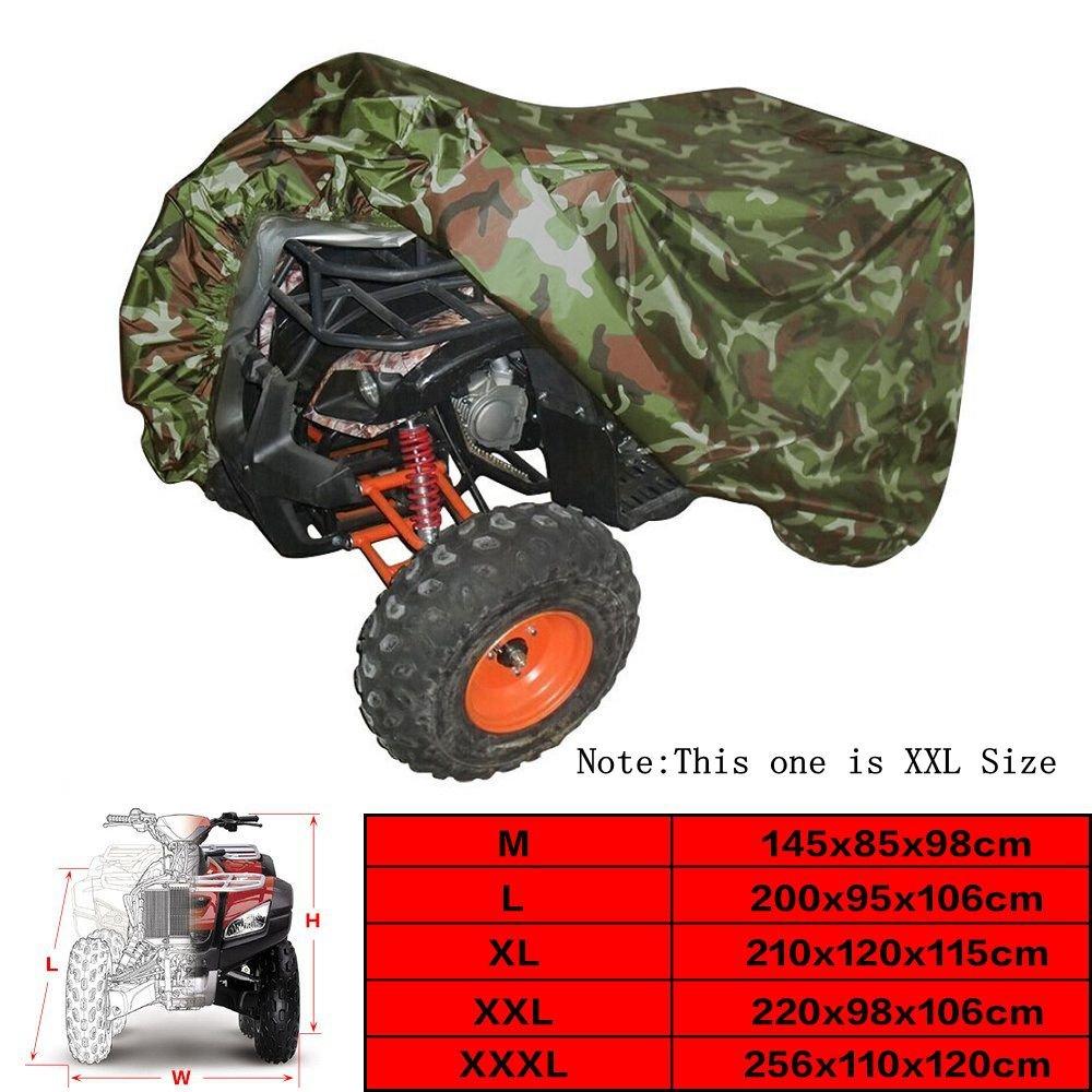 VVHOOY ATV Cover Waterproof Heavy Duty,All Weather Protection Universal Compatible with Honda Polaris Yamaha Suzuki Kawasaki Quad 4 Wheeler Cover from Snow Rain Sun,Camo 86x38x42in,XXL