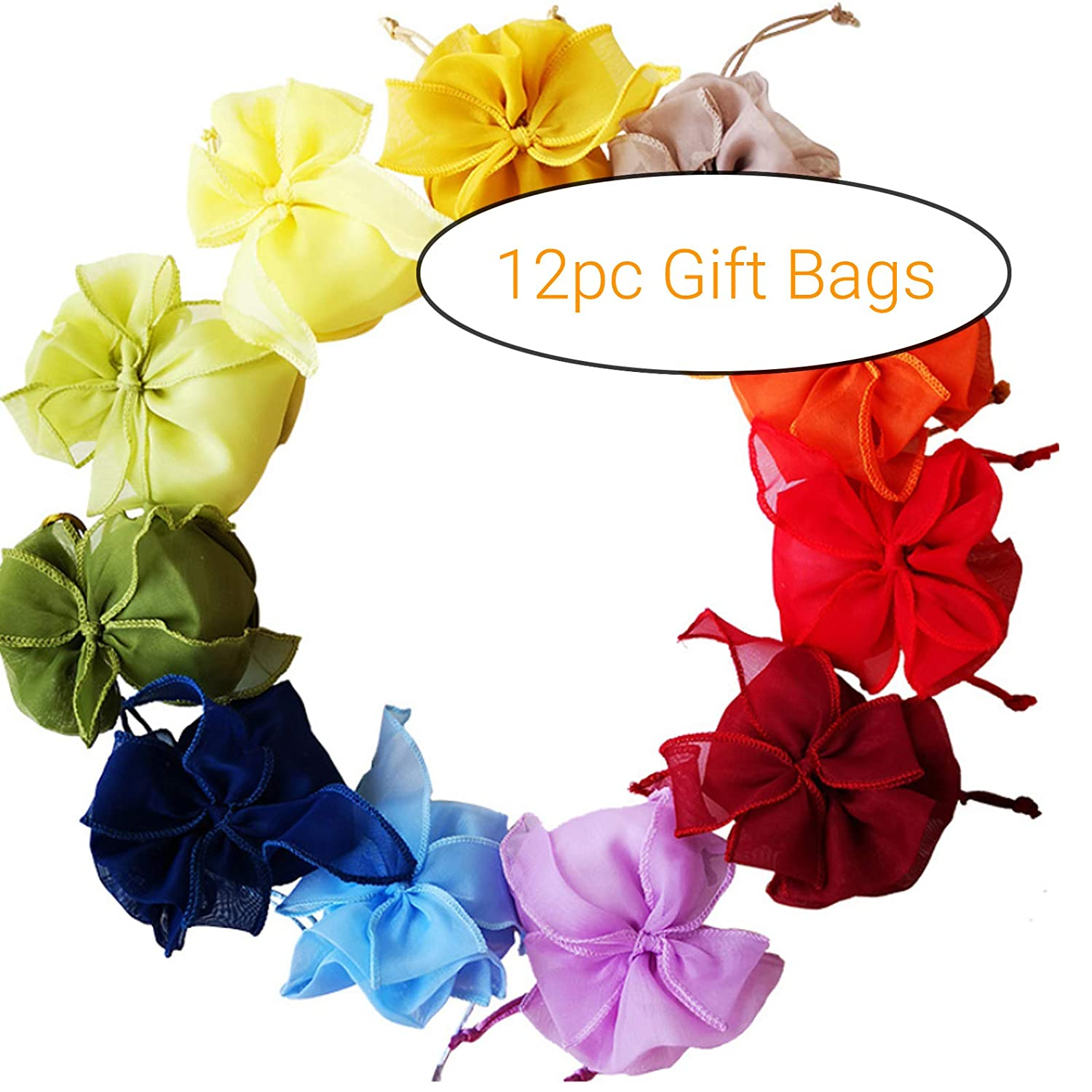 9e001152f Amazon.com  eKoi 3x5 Inches Delicate Med Size Assorted Color Organza  Drawstring Gift Favor Bags Tulle Silk Smooth Fabric for Wedding Party Baby  Shower Candy ...