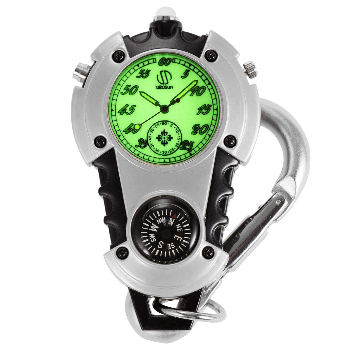 SIBOSUN Glow in the Dark Unisex Fob Watch Silver Clip Quartz Watch Black Case White Dial
