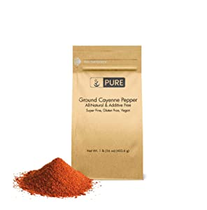 Ground Cayenne (Red) Pepper (1 lb) by Pure , Gluten Free, Vegan, Used in Hot Sauces & Spicy Food, Eco-Friendly Packaging