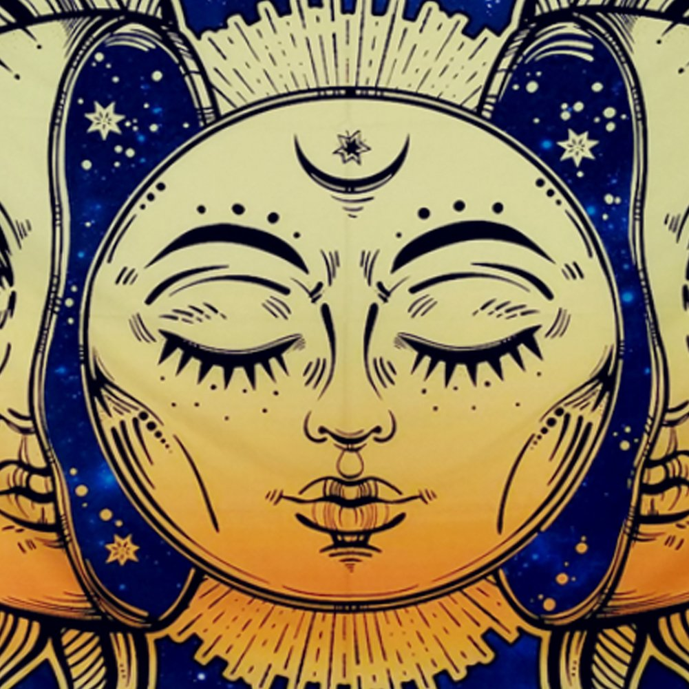 Amonercvita Psychedelic Tapestry Moon and Sun Tapestry Wall Hanging India Hippie Hippy Bohemian Tapestries Starry Sky Wall Tapestry Fractal Faces Mystic Tapestry for Bedroom Living Room Dorm by Amonercvita (Image #6)
