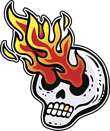 Amazon Com Angry Dead Skull With Gold Tooth And Fire Coming Out Of Its Eyes Cartoon Vinyl Decal Sticker 2 Tall Automotive