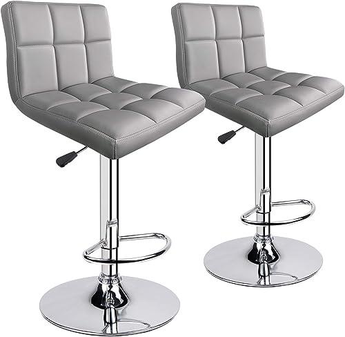 Leopard Modern PU Leather Adjustable Swivel Bar stools, Set of 2, Light Grey