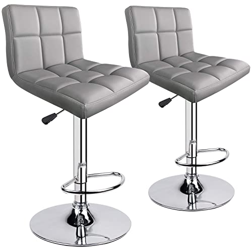 Leopard Modern PU Leather Adjustable Swivel Bar stools, Set of 2, Light Grey