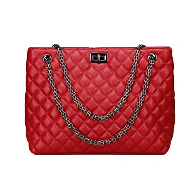 1c298cbc97ed Quilted Handbags for Women Metal Chain Strap Purse Shoulder Bags (Medium