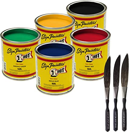 Amazon Com One Shot 5 Color Lettering And Pinstripe Paint 1 4 Pint Cans With Bonus Striping Brush Kit Colors Bright Red Lemon Yellow Emerald Green Reflex Blue And Black