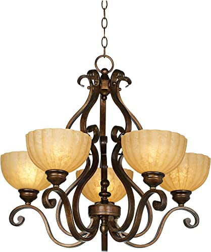 Iron Scroll Golden Bronze Chandelier 28 Wide Amber Scalloped Glass 5-Light Fixture for Dining Room House Foyer Kitchen Island Entryway Bedroom Living Room – Franklin Iron Works