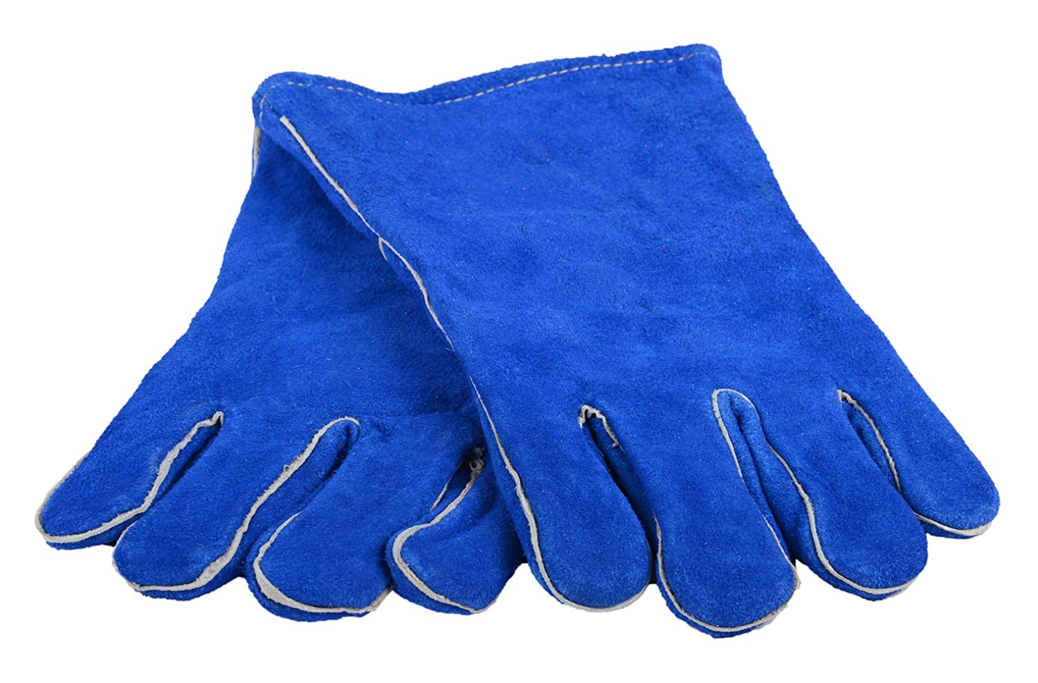 Forney 53422 Blue Leather Heavy Duty Mens Welding Gloves with Reinforced Thumb Large