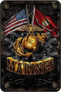 szumfen Marine Corps Wall Décor Signs, USMC Metal Sign (Double Flag Gold Globe) USMC Parking Sign & Marine Corps Man Cave Décor– 8x12 Metal Wall Art Décor Metal Bar Sign