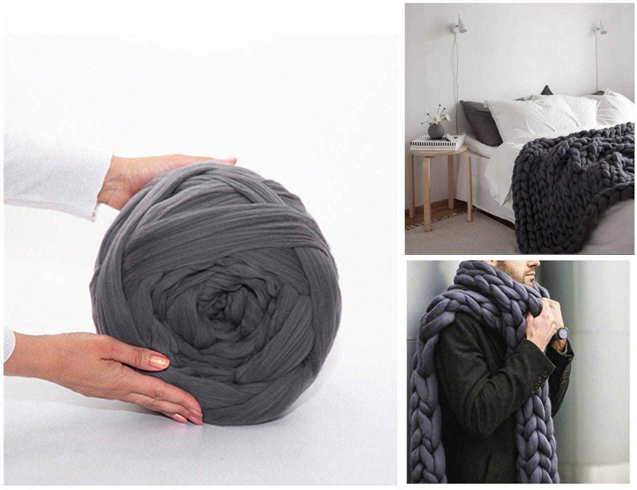 Arm Knitting Yarn Chunky Wool Yarn Bulky Wool Yarn Giant Knit Yarn Extreme Knitting (0.55lbs/250g, Dark Grey)