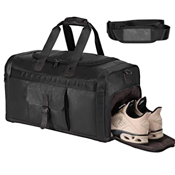 0c2012f369d4 Weekender Overnight Duffel Bag with Shoes Compartment for Women Men Leather  Travel Weekend Carry On Bag