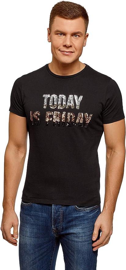 oodji Ultra Hombre Camiseta Recta con Inscripción de Lentejuelas en el Pecho: Amazon.es: Ropa y accesorios
