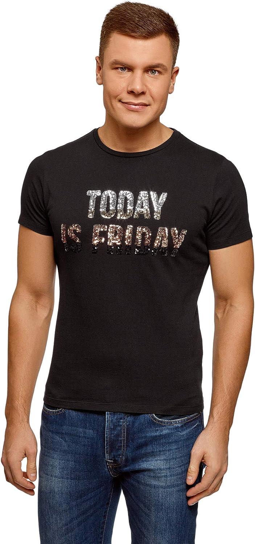 oodji Ultra Hombre Camiseta Recta con Inscripción de Lentejuelas en el Pecho