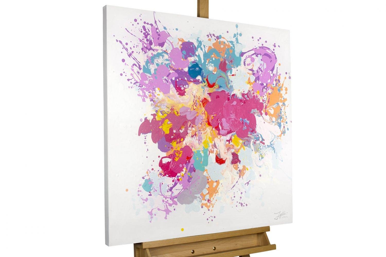 KunstLoft® Gemälde 'Dem Pinsel entwischt' in 80x80cm   XXL XXL XXL Leinwandbild handgemalt   Abstrakte bunte Farbkleckse auf Weiß   signiertes Wandbild-Unikat   Acrylgemälde auf Leinwand   Modernes Kunstbild   Sehr großes Acrylbild auf K 244096