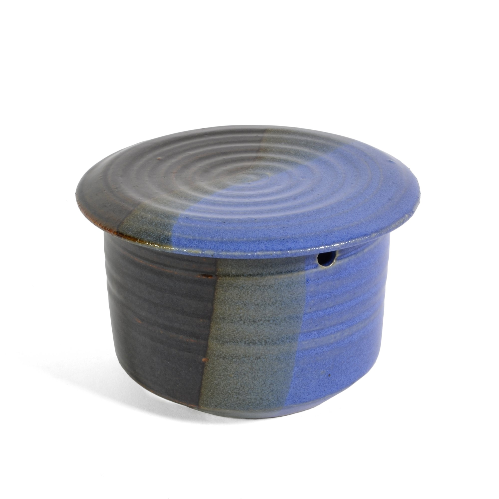 Holman Pottery French Butter Keeper, Blue Earth