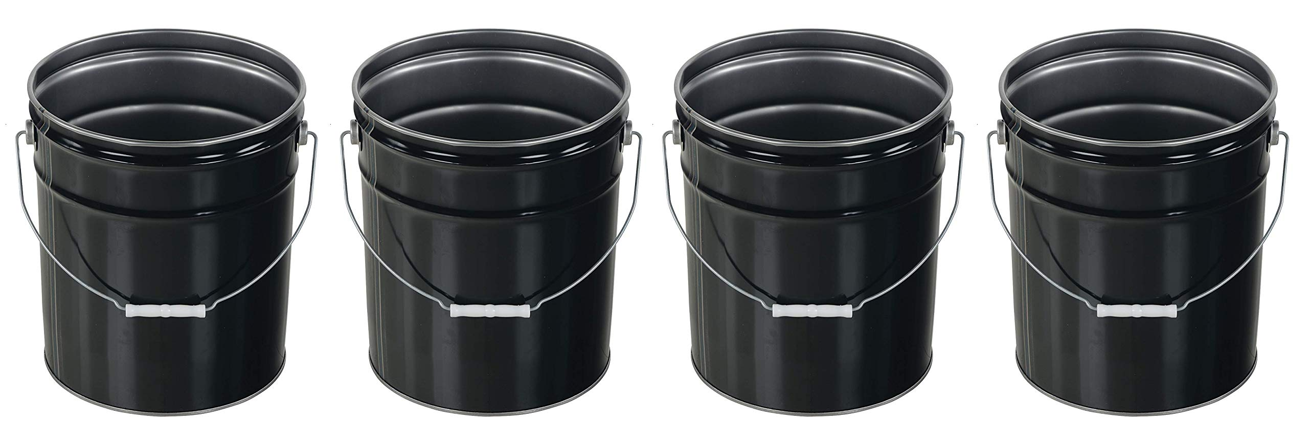 Vestil Pail-STL-RI Steel Open Head Pail with Handle, 5 Gallon Capacity, Black (Pack of 4)