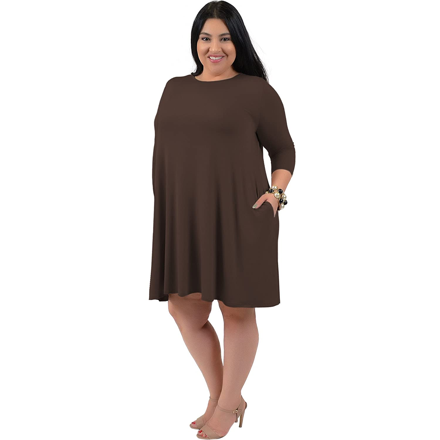 Stretch is fort Women s Plus Size ¾ Sleeve Pocket Flowy Trapeze Tunic Dress DRS649PS $P
