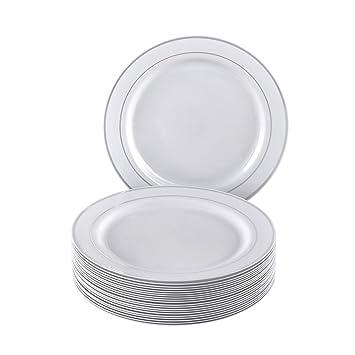 Plata brillo colección elegante China vajilla desechables plato redondo blanco con borde de plata (para bodas, fiestas y eventos - placas laterales de ...