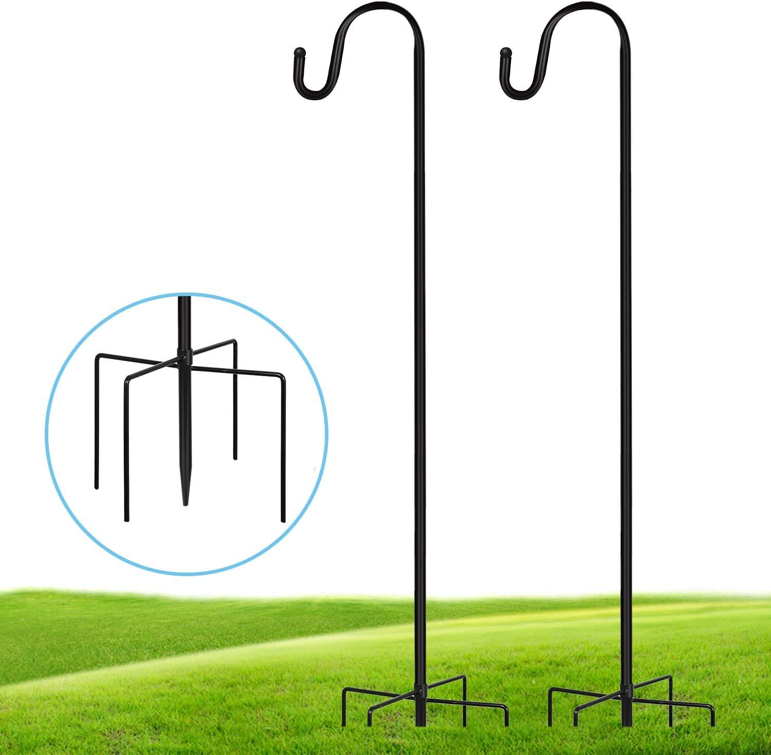 JOYSEUS 2 Pack Shepherd Hook 48 Inch, 1/2 Inch Thick Heavy Duty Rust Resistant Shepards Hooks Outdoor Hangers For Hanging Plants, Solar Lights, Bird Feeders, Christmas Wreath and Christmas Decorations