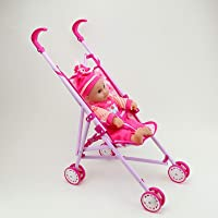 Aarna's Infant Kids Carriage Stroller Trolley Nursery Toy Set with (2 Doll Set)