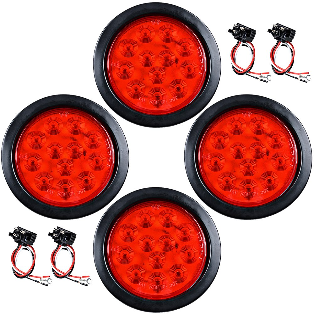 Set Of 4pcs Red 4 Round 12 Led Stop Running Tail Light Chevy Cruze Wiring Harness Grommet Plug For Long Vehicle Truck Trailer Automotive
