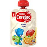 Nestlé CERELAC Fruits Puree Pouch Apple, Banana, Peach, Apricot, Orange, Grape, 90g