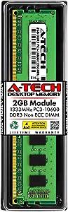 A-Tech 2GB DDR3 1333MHz PC3-10600 Desktop RAM Module | Non-ECC Unbuffered DIMM 1.5V 240-Pin Memory Upgrade Stick