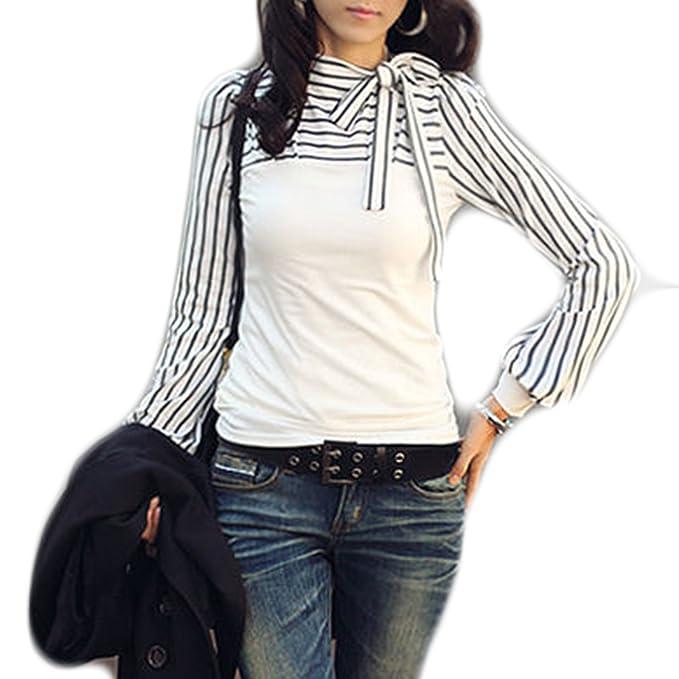 Mujer Otoño manga larga nuevas Moda rayas Slim Pajarita blusa T-Shirt Camiseta Tops (