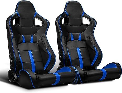 ModifyStreet 1 Pair Universal Black//Blue Strip PVC Leather Racing Bucket Seats