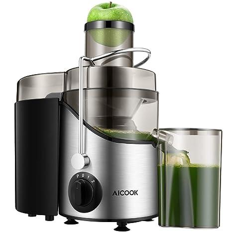 Entsafter Gemüse und Obst, Aicook Zentrifugaler Entsafter mit 65MM Breiter Mund, 3 Geschwindigkeiten Edelstahl Entsafter mit Rutschfeste Füße,