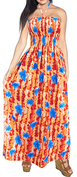 LA LEELA Women\'s Plus Size Tube Dress Stretchy Comfort Beach Cover Up  Printed A