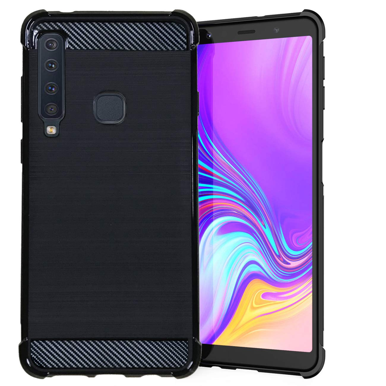 Toppix Case for Samsung Galaxy A9 (2018), Soft TPU Reinforced Bumper[Shock Absorption][Carbon Fiber Texture] Protective Flexible Cover for Samsung Galaxy A9 (2018) (Black)