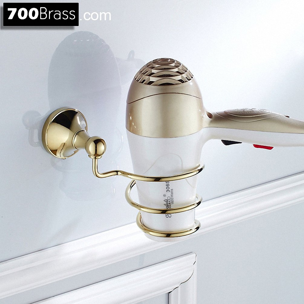 700Brass Hair Dryer Holder Design for Hotel/Motel/Home, Solid Brass, Polished Gold, Wall Mounted, Bathroom/Kitchen Hardware Holder