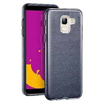 Coovertify Funda Purpurina Brillante Negra Samsung J6 2018, Carcasa Resistente de Gel Silicona con Brillo Negro para Samsung Galaxy J6 2018 (5,6