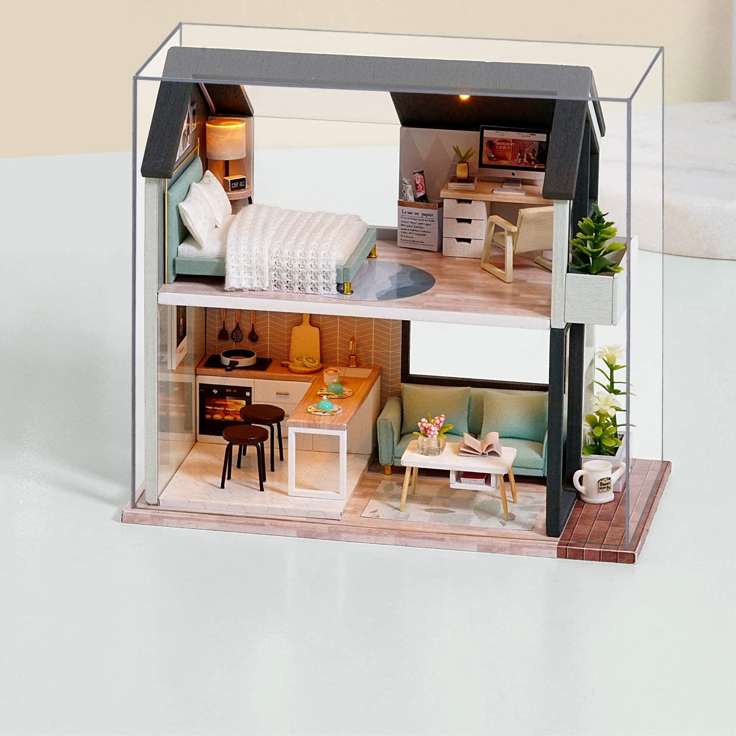 piberagi Doll House Miniature Dollhouse Kit DIY Wooden Dollhouse Accessories with Furniture Set Toy Plus Dust Proof Cover for Kids Teens Adults Miniature Dollhouse QL002