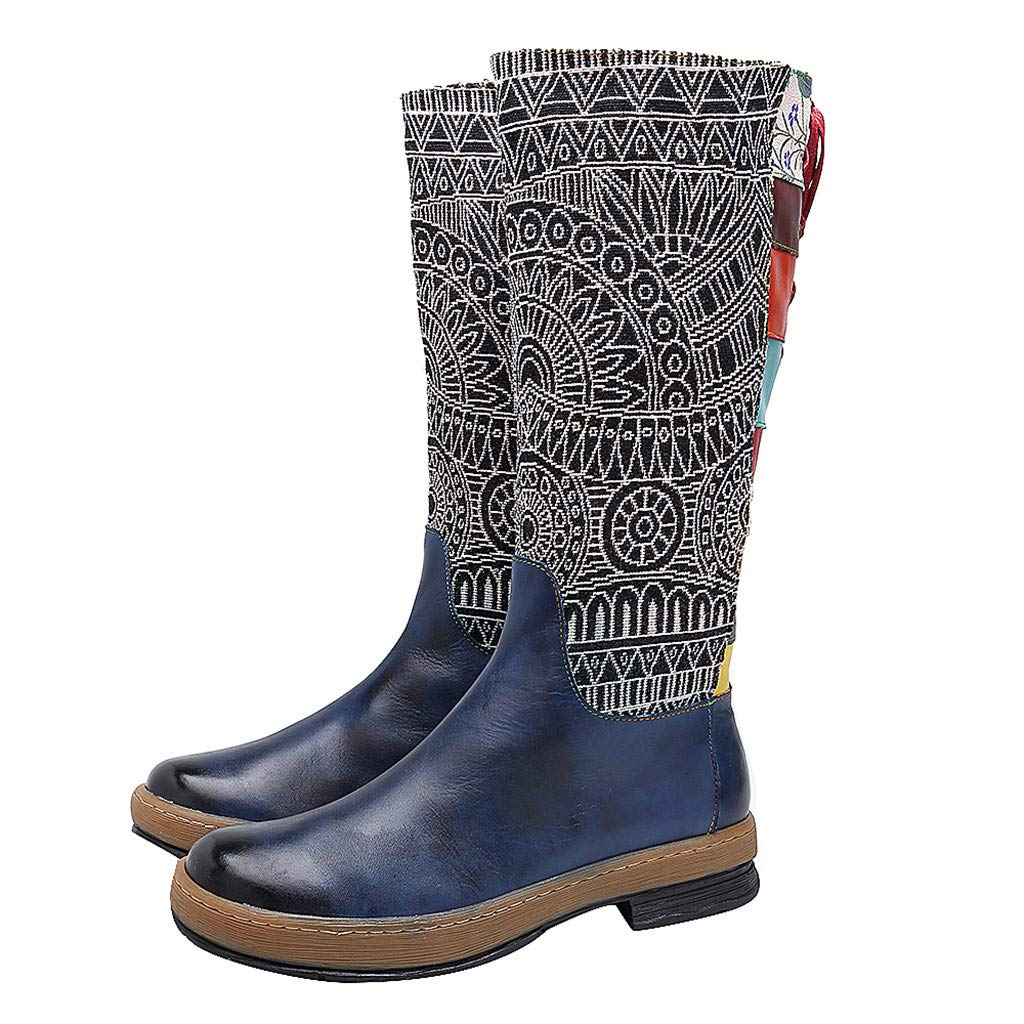 Dainzuy Womens Bohemian Knee High Boots Leather Flat Long Bootie Embroidery Pattern Tall Riding Boots Blue by Dainzuy Women's Shoes