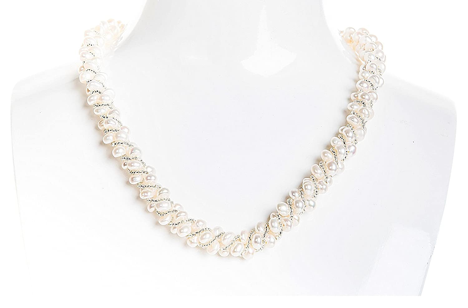cf9a91e73bb Amazon.com  Braided White Multi Strand Freshwater Pearl Necklace 6mm   Jewelry