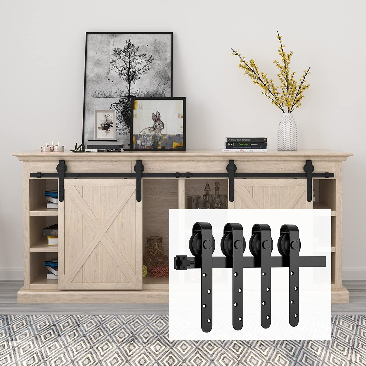 HomLux 6ft Double Cabinet Door Mini Barn Door Hardware Kits for Cabinet Doors - Smoothly and Quietly - Simple and Easy to Install J Shape Hangers