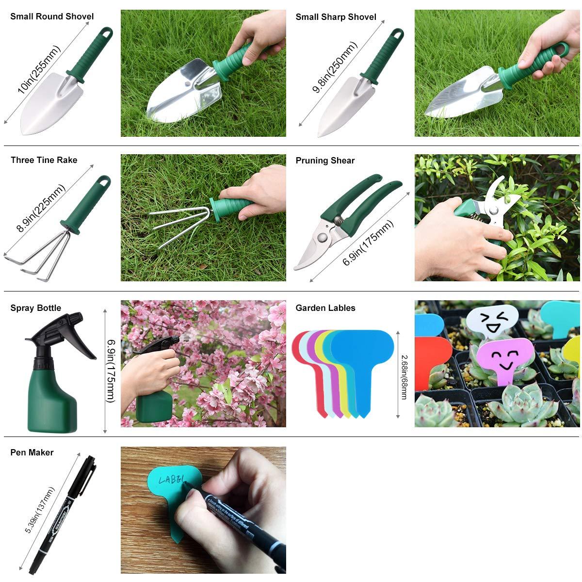 5-teiliges Garten- und Pflanzset mit Tragetasche CT Gartenger/äte-Set Geschenk f/ür Gartenliebhabe ergonomischem Griff Gartenarbeitsset mit lila Blumendruck