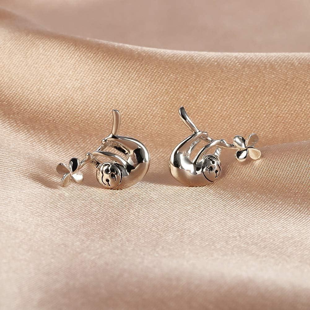 Moonship Parure de bijoux en argent sterling 925 avec pendentif paresseux animal mignon collier boucles doreilles bracelet femme fille