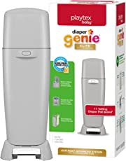 Playtex Baby Diaper Genie Elite Diaper Pail System with Front Tilt Pail for Easy Diaper Disposal, Gray