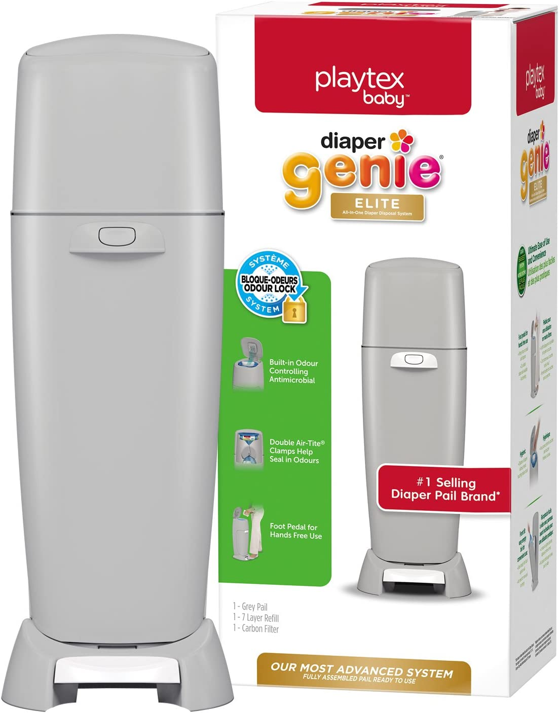 White Playtex Baby Diaper Genie Elite Diaper Pail System with Front Tilt Pail for Easy Diaper Disposal