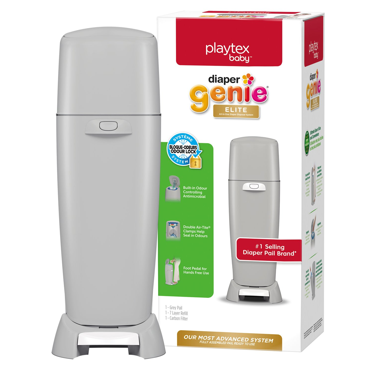 Playtex Baby Diaper Genie Elite Diaper Pail System with Front Tilt Pail for Easy Diaper Disposal, Gray Edgewell Personal Care