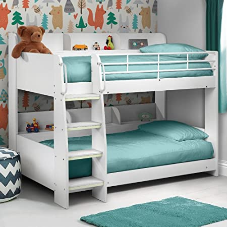 Happy Beds Domino White Finished Sleep Station Childrens Kids Bunk Bed  Frame 3u0027 Single